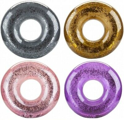 """Kids Deluxe 20"""" 24"""" 36"""" Huge Glitter Filled Colours Inflatable Swim Ring Floats"""