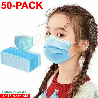 50 PCS Children Face Mask Medical Disposable 3-Ply Mouth Cover Child Kids Size
