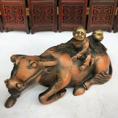 Old Chinese Antique Exquisite Brass Statue of A Boy Herding Cattle
