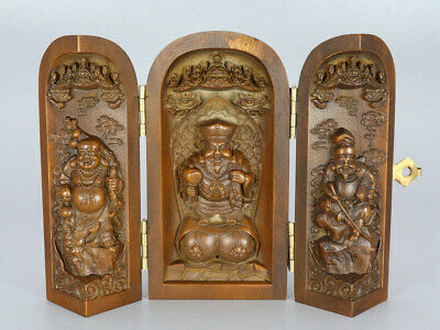 Chinese Exquisite Handmade God of wealth Buddha Carving Boxwood screen