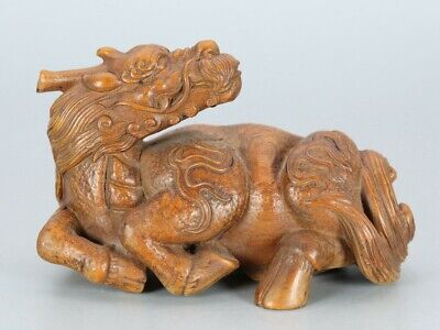 Chinese Exquisite Hand-carved Kirin Carving Boxwood statue