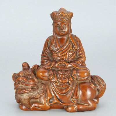 Chinese Exquisite Handmade Buddha Mythical animal carving Boxwood statue