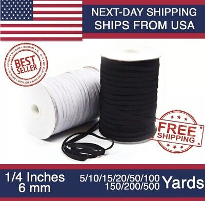 Elastic Band 1/4 inches width (6mm) White/Black  For DIY Mask 5 yard - 500 Yards