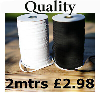 2mtrs QUALITY White OR Black Elastic flat Cord 6mm Sewing face Masks narrow