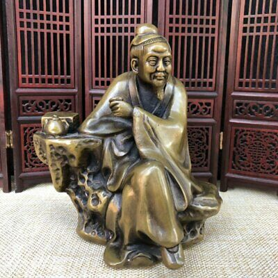 Old Chinese Antique Exquisite Brass Statue Li Bai Ancient Chinese Poet