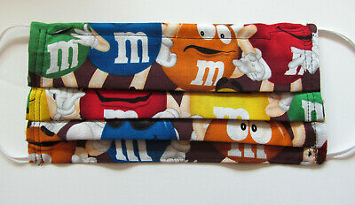 M&M Face Mask w/Filter Pocket Washable Reusable Cotton Fabric Adult