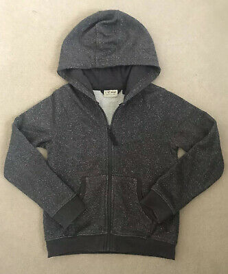 Next Girls Grey Silver Sparkly Zip Up Hoodie 8 Years Vgc