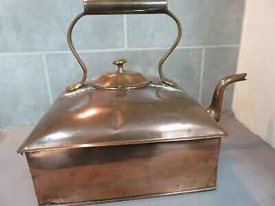 Large Victorian Square Copper 12 Pint Kettle.   Ref xeod.