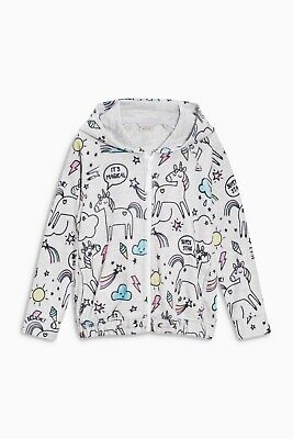 Bnwt Next Grey Unicorn Printed Fleece Zip Through Hoody, Size 10 Years