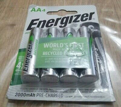 ENERGIZER AA RECHARGE POWER PLUS 2000mAh NiMH PRE-CHARGED BATTERIES X4 PACK NEW