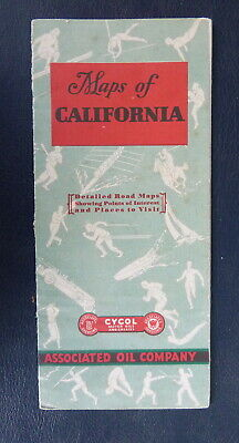 1930 California  road map Associated  Flying A  oil  gas route 66