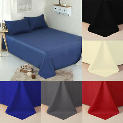 Full Flat Sheet Bed Sheets 100% Cotton Blanded Single Double King Super King UK