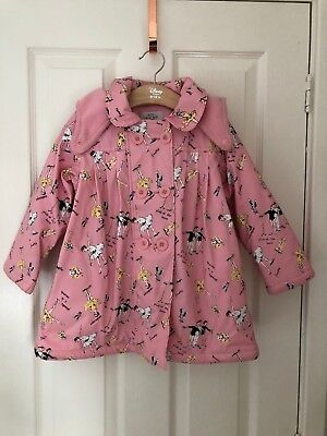 Their Nibs Girls Pink Waterproof Fleece Lined Ballet Theme Coat/Raincoat-4-5 Yrs