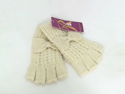 Rampage Womens Knitted Fingerless Gloves W/Bow Metallic Ivory One Size