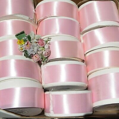 20y ROLL BABY PINK DBL FACE SATIN RIBBON ANTQ VTG FRENCH DOLL MILLINERY FLOWER