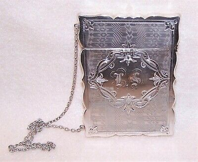 Gorham Antique Edwardian Sterling Silver Card Case - Engraved Initials LS or IS