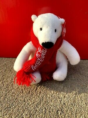 "Coca Cola Plush Mini Polar Bear With Red Scarf 4"" Stuffed Animals"