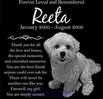 "Personalized Maltese Dog Pet Memorial 12"" Custom Granite Grave Marker Headstone"