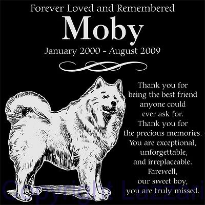 "Personalized Samoyed Pet Memorial 12""x12"" Custom Engraved Granite Grave Marker"