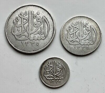 Lots Of 3 Egypt Silver Coins 1920 Sultan Fouad 10/5/2 Piasters .plz Check Pics
