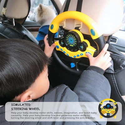 Kids Simulated Light Musical Road Direction Steering Wheel Toy (Black Yellow)