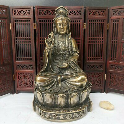 Old Chinese Antique Exquisite Brass Statue Guanyin Bodhisattva