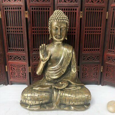Old Chinese Antique Exquisite Brass Statue Buddha