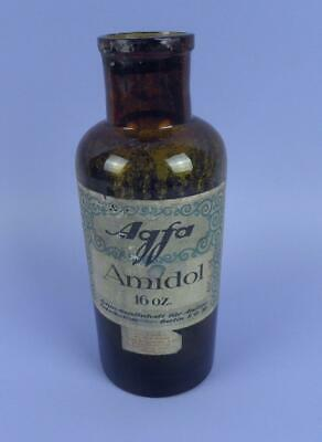 Vintage Agfa Amidol 16 oz. Photography Developing Bottle With Labels