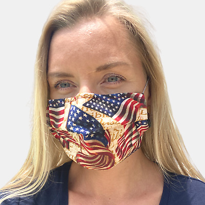 Face Cover Adult Cotton Washable Nose clip Made in USA, Fabric Cloth USA