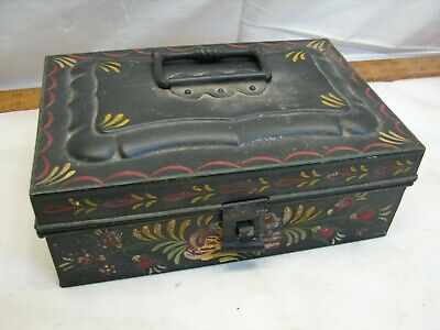Early Tin Tole Painted Spice Box Kitchen Canister Set Tote