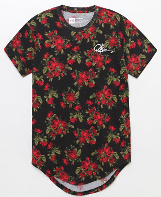 Young & Reckless Mens S/S T-Shirt ROSE SCALLOP Streetwear BLACK Guess S-XL $30