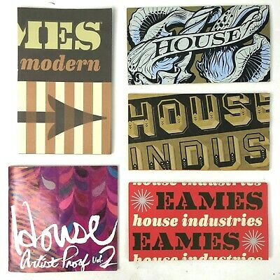 House Industries 5 Font Catalog Bundle 2000s Eames Graphic Designer Artist Proof