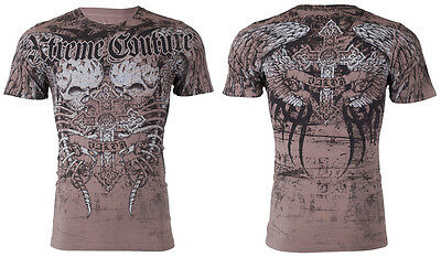 Xtreme Couture Affliction Mens S/S T-Shirt ROT Skull Wings GREY Biker M-3XL $40
