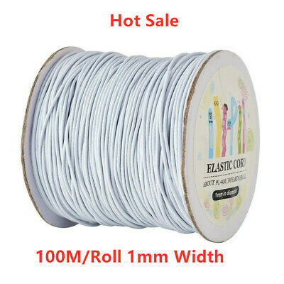 1Roll 1mm Widths 100M White Round Elastic Cord With Nylon Outside Rubber Inside