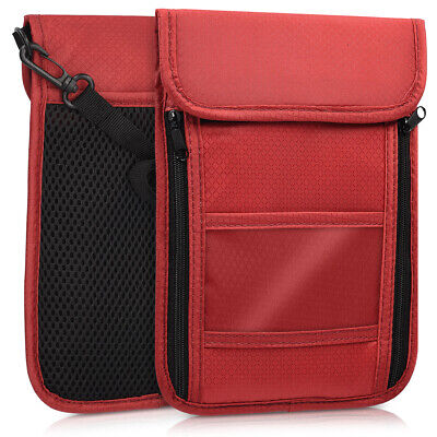 Neck Pouch For Travelling, Documents, Mobile Dark Red Rfid