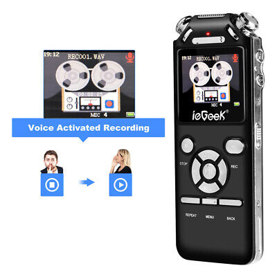 16G Voice Recorder Mini Digital Audio Dictaphone with Earphone USB Rechargeable