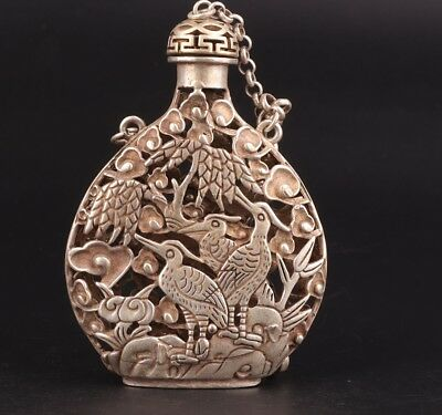 Rare China Tibet Silver Pendant Snuff Bottle Hollowed Out Crane Mascot Gift