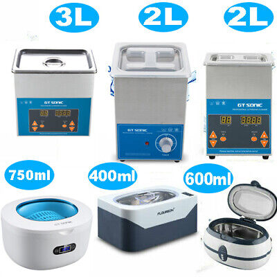 Stainless Ultrasonic Cleaner Ultra Sonic Bath Cleaning Timer Heating 400ML~3L
