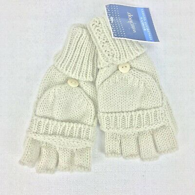 West Loop Womens Fingerless Gloves One Size Ivory Stretch Button