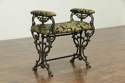 "Iron 24"" Bench with Arms, Griffin Heads, New Upholstery #33371"