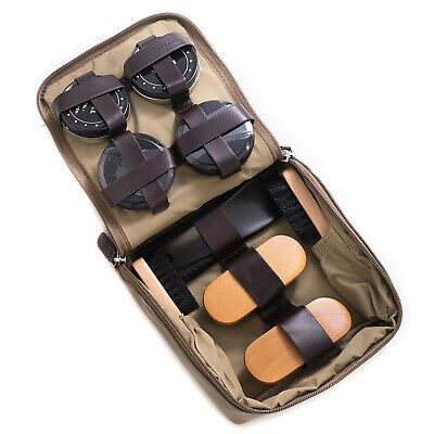 """Shoe Care Sets - """"Green Park"""" Shoe Shine Kit - Ultra Suede & Brown Leather Case"""