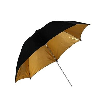 "33"" 83cm Photo Studio Umbrella Gold Black Flash Light Reflector"