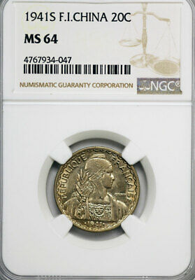 French Indo-China. AL 20 Cents 1941 S. NGC MS64!
