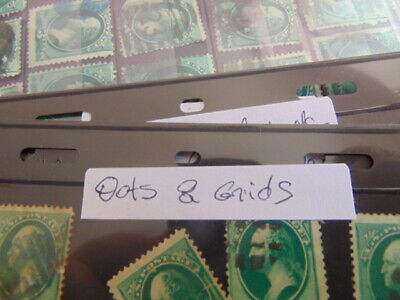 Lot of 100 3c Washington green banknote stamps with fancy cancels (grids)