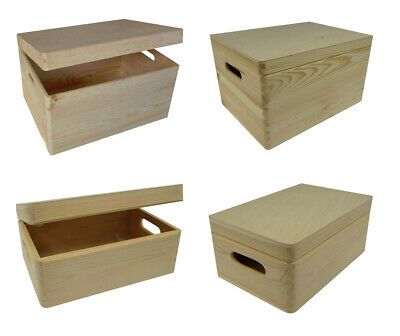 Wooden Storage Box With Lid And Handles / Pinewood Toy Chest Trunk
