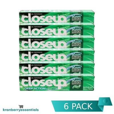 6 x CLOSEUP GEL TOOTHPASTE DEEP ACTION MENTHOL FRESH ORAL FRESH BREATH BULK 160g