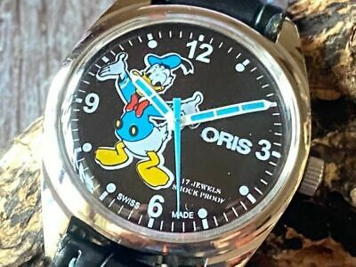 Used ORIS vintage hand-rolled 17 stone Men's Watch Dial Black Donald Duck wo