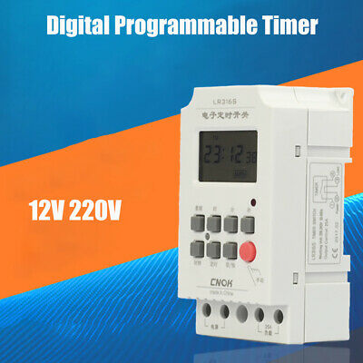 12V/220V Digital LCD DIN Programmable Weekly Rail Timer Time Relay Switch