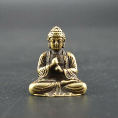 Chinese Antiques OLD pure brass hand carved sakyamuni Buddha small mini statue~