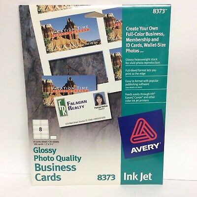 Avery 8373 Glossy Photo Quality Business Cards - Ink Jet - 160 Cards -Full-Bleed